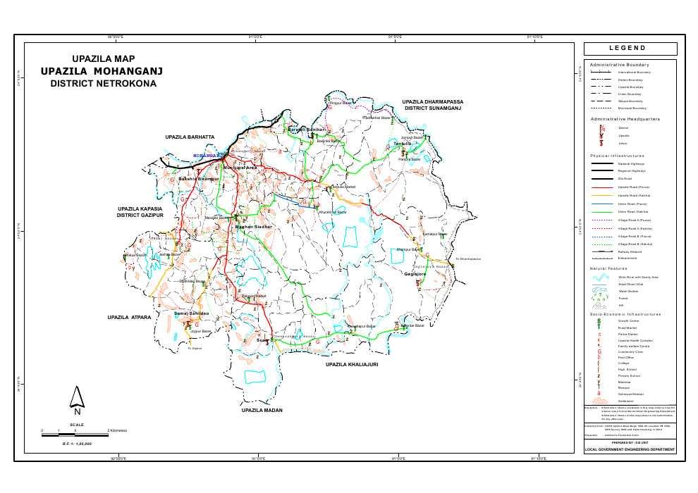 Mohanganj Upazila Map Netrokona District Bangladesh