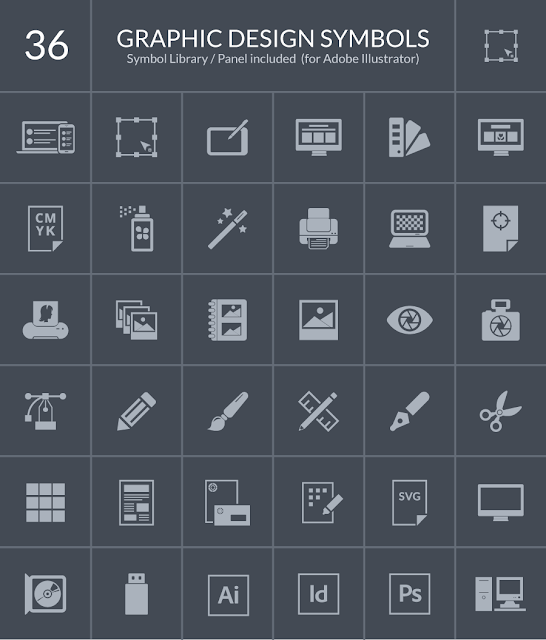 36 Graphic Design Symbol Icons for Web & Mobile For Free Download: Freebies