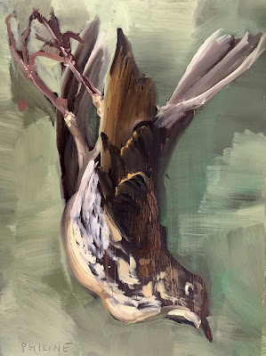 Thrush, oil painting on panel 15x20cm by Philine van der Vegte