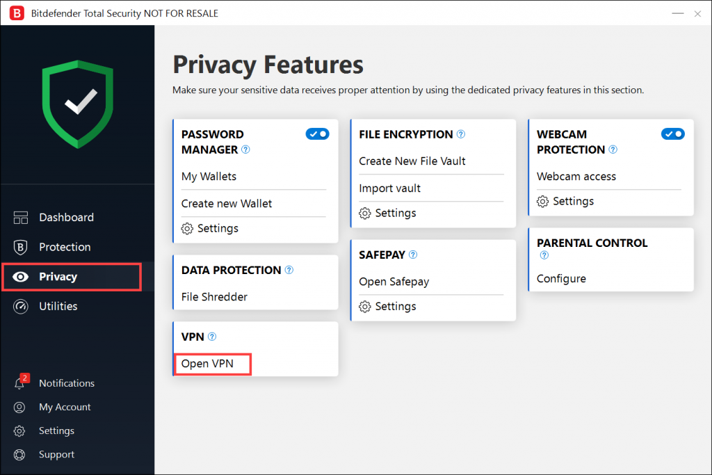 Bitdefender privacy features