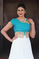 Anjena Kirti in Green and white Anarkali Dress Cute Makeup Latest Pics 003.JPG