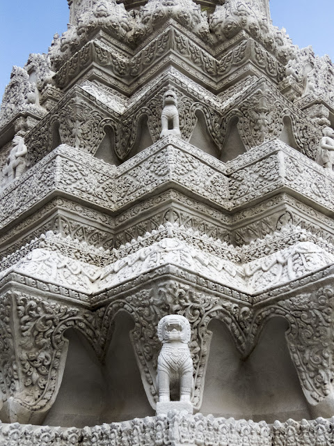 Intricately carved stupa at the Royal Palace in Phnom Penh, Cambodia