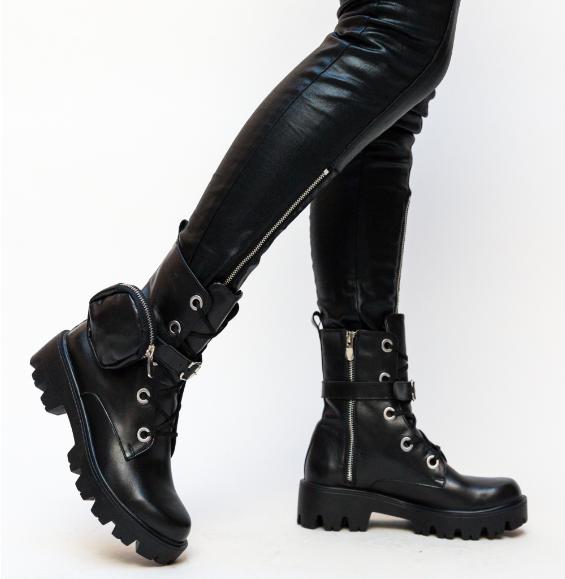 Ghete de fete inalte stil rock negre din piele naturala cu talpa groasa model nou