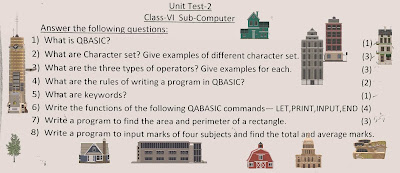 Unit Test Question Paper of Computer Class 6 ICSE