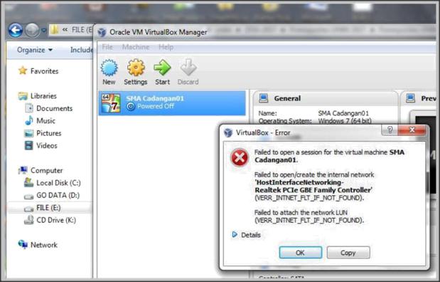 Terjadi Error Inaccessible di mesin virtual UNBK