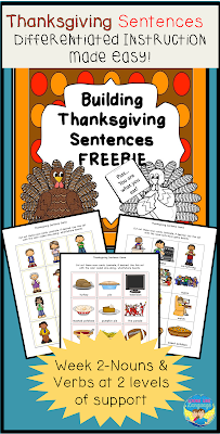 Make your Thanksgiving prep easier with this free Building Sentences activity from Looks Like Language!
