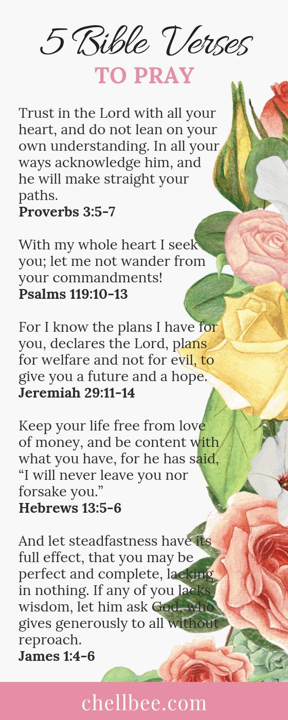 5 Bible Verses to Pray | Chellbee