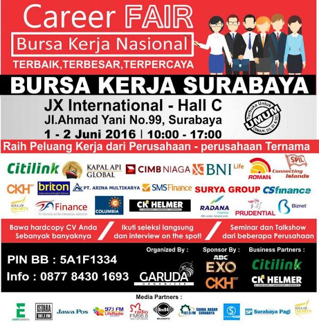 Jobfair Surabaya JX Internasional Hall bulan juni 2016