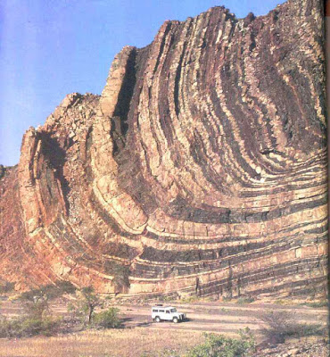 The Folded layers in valley in Namibia