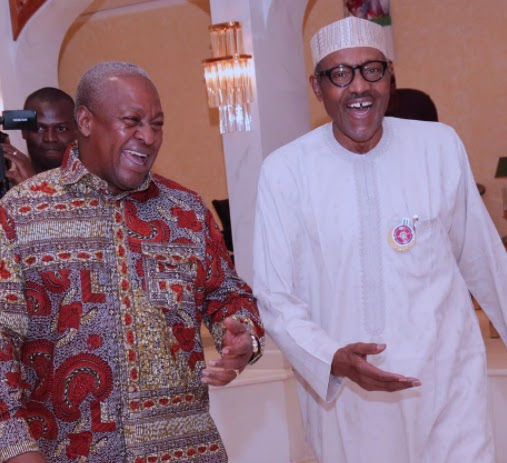 Photos from President Buhari's dinner with former President John Mahama at the state house