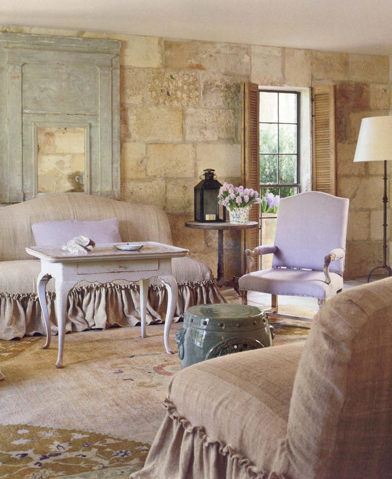 Chateau Domingue's Ruth Gay's exquisite home with design by Pamela Pierce, antiques, and construction with reclaimed stone and materials from Europe. Come score ideas for a Timeless and Tranquil European Country Inspired Look. #europeancountry #interiordesign #frenchcountry