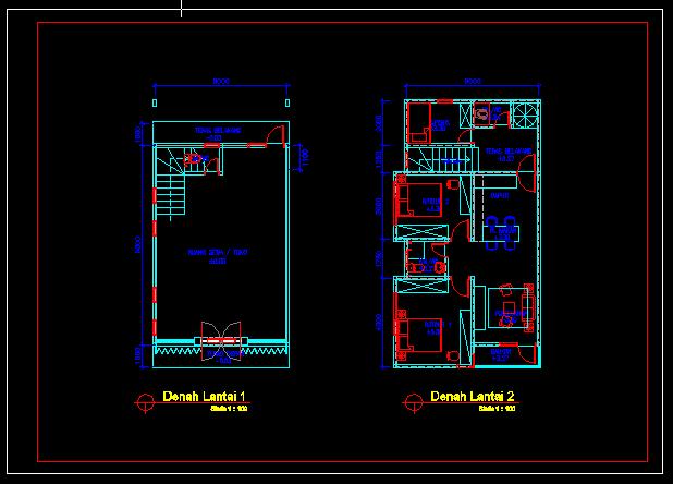 Gambar Desain Rumah Minimalis Dwg  desain rumah minimalis 2 lantai autocad 2020 rumah