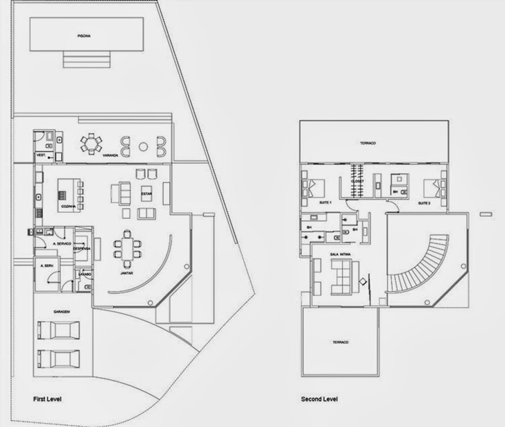 Floor plans of Dream home by Pupo Gaspar Arquitetura