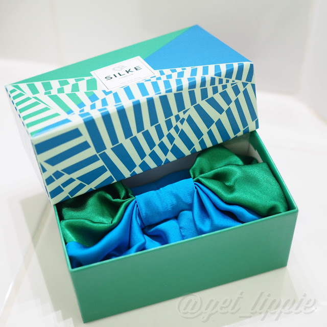 "Silke London ""The Isla"" Silk Hair Wrap in Green and Blue Get Lippie 20160612"