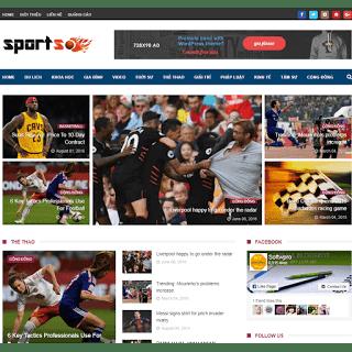 template blogspot tin tức thể thao