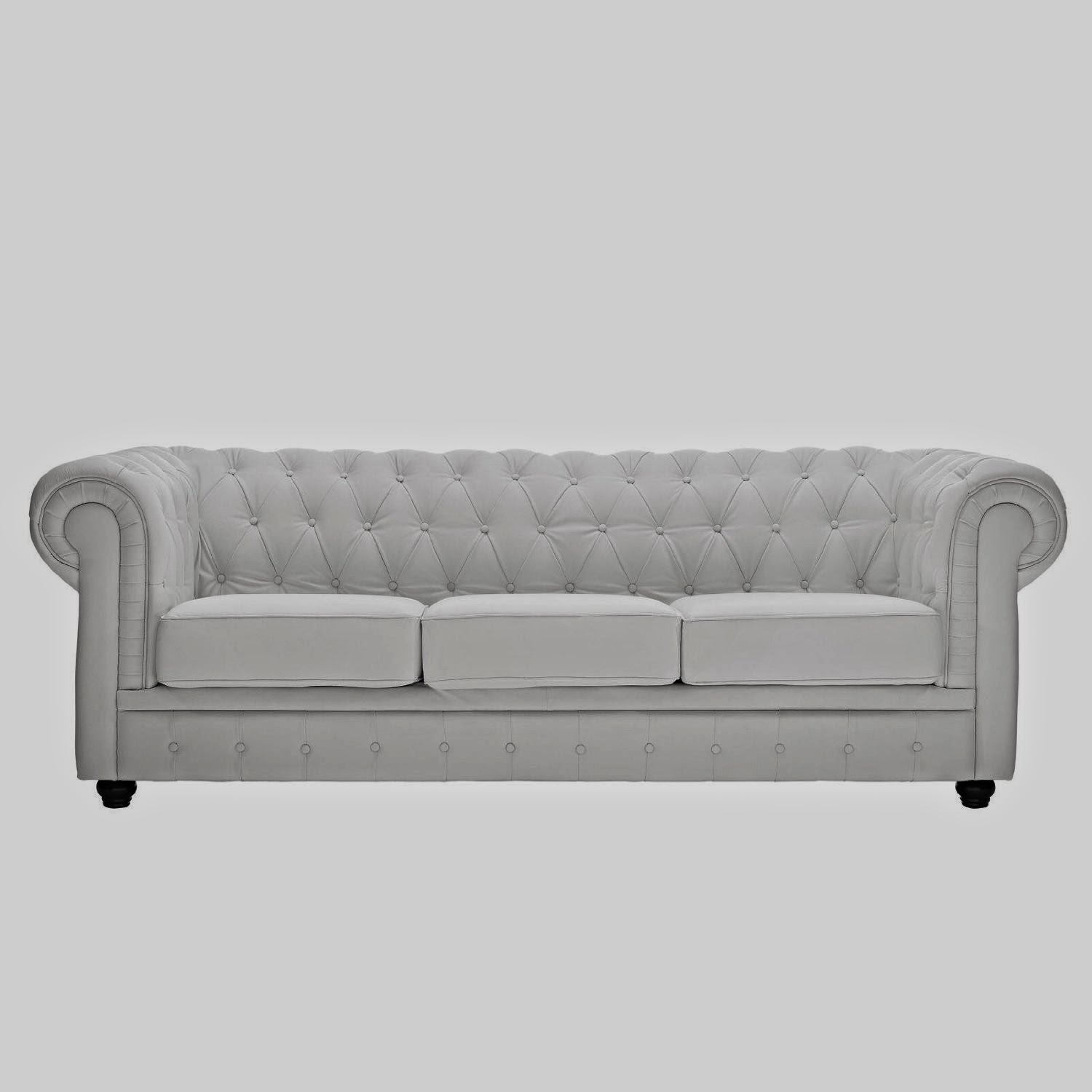 Chesterfield Sofa Leather White Duncan Phyfe Reupholstered Couch