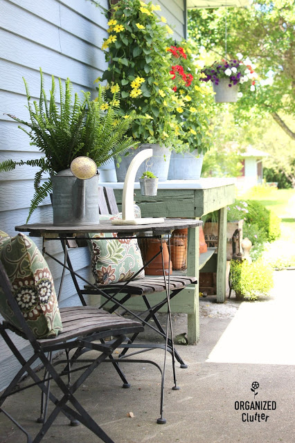 Trend For two years I had the little table and chairs next to my potting sink bench just a few feet from my covered patio area