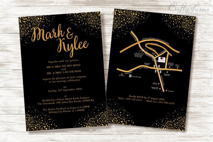 Black and Gold Glittery Wedding Card | DoubleTree by Hilton Kuala Lumpur