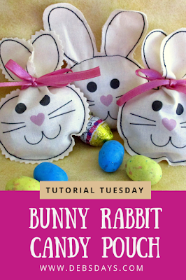 Homemade Fabric Bunny Rabbit Easter Candy and Treat Bags Sewing Project