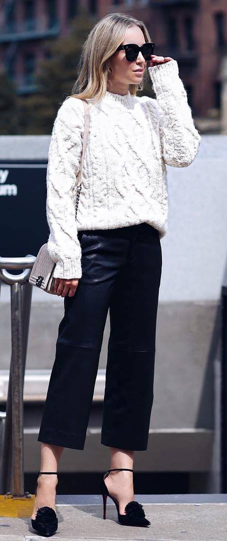 fall trends / white sweater + pants + heels + bag
