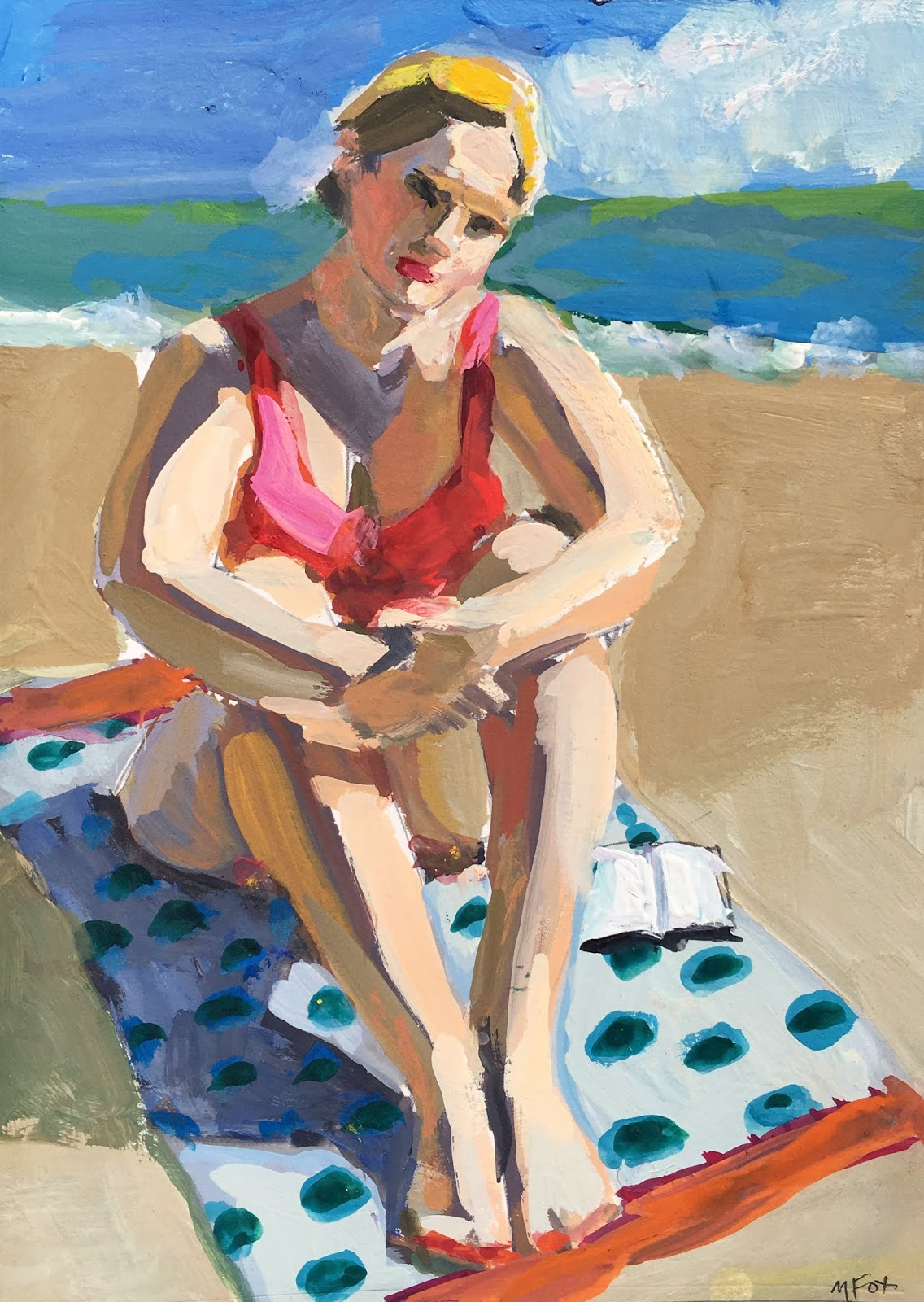 Curvy Woman At Beach Summer Book Reading By Ocean