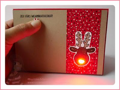 Stampin' Up! rosa Mädchen Kulmbach: Weihnachtskarte Rudolph mit LED und ausgestochen weihnachtlich