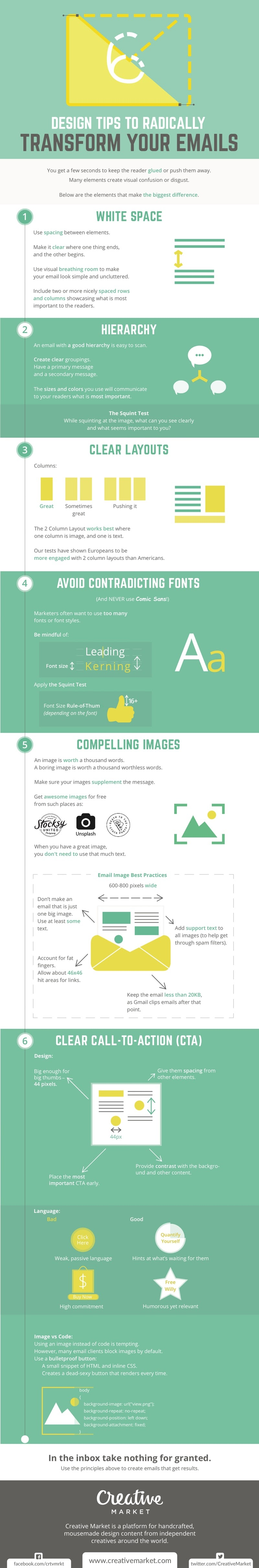6 Design Tips to Radically Transform Your Emails - #infographic
