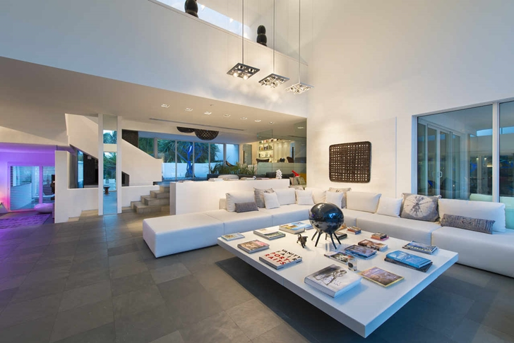 Living room of Modern mansion in Miami at night