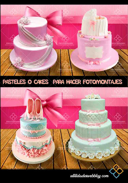 4 tipos de cakes con fondo transparente para hacer fotomontajes.