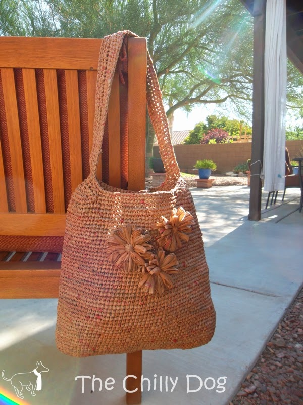 Enter The Chilly Dog's monthly giveaway for a carefully handcrafted, eco-friendly beach tote made from upcycled shopping bags.