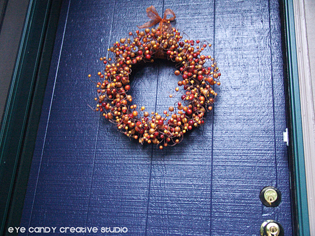 fall wreath, blue front door, front door makeover, modern masters paint