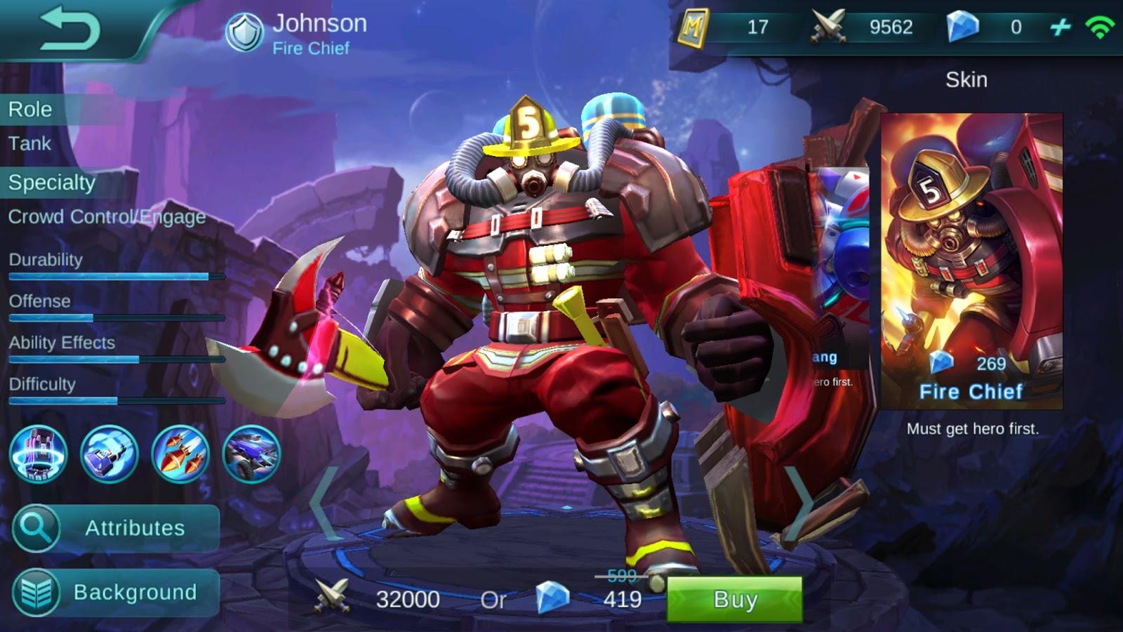 Untuk bulan ini, bahkan Johnson di Op oleh pihak Mobile legend yang mengganti skill dua Johnson yang cukup merepotkan lawan yakni Stone setelah melempar kampak pemadam kebakaran ke lawan ditambah durability yang tinggi membuat Tank ini jadi salah satu Hero yang tidak pernah hilang bettle level Epic.