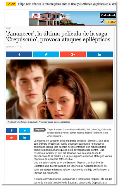 Pantallazo de la noticia en La información: Amanecer, la última película de la saga Crepúsculo, provoca ataques epilepticos