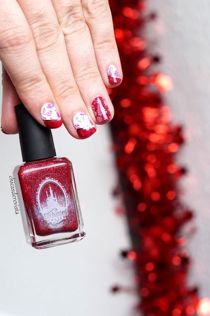 nail art stamping rouge et blanc