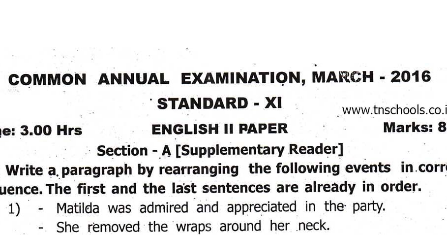 plus one annual exam question paper march 2016-English 2nd