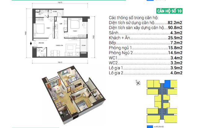 Thiết kế căn hộ số 10 Housinco Grand Tower