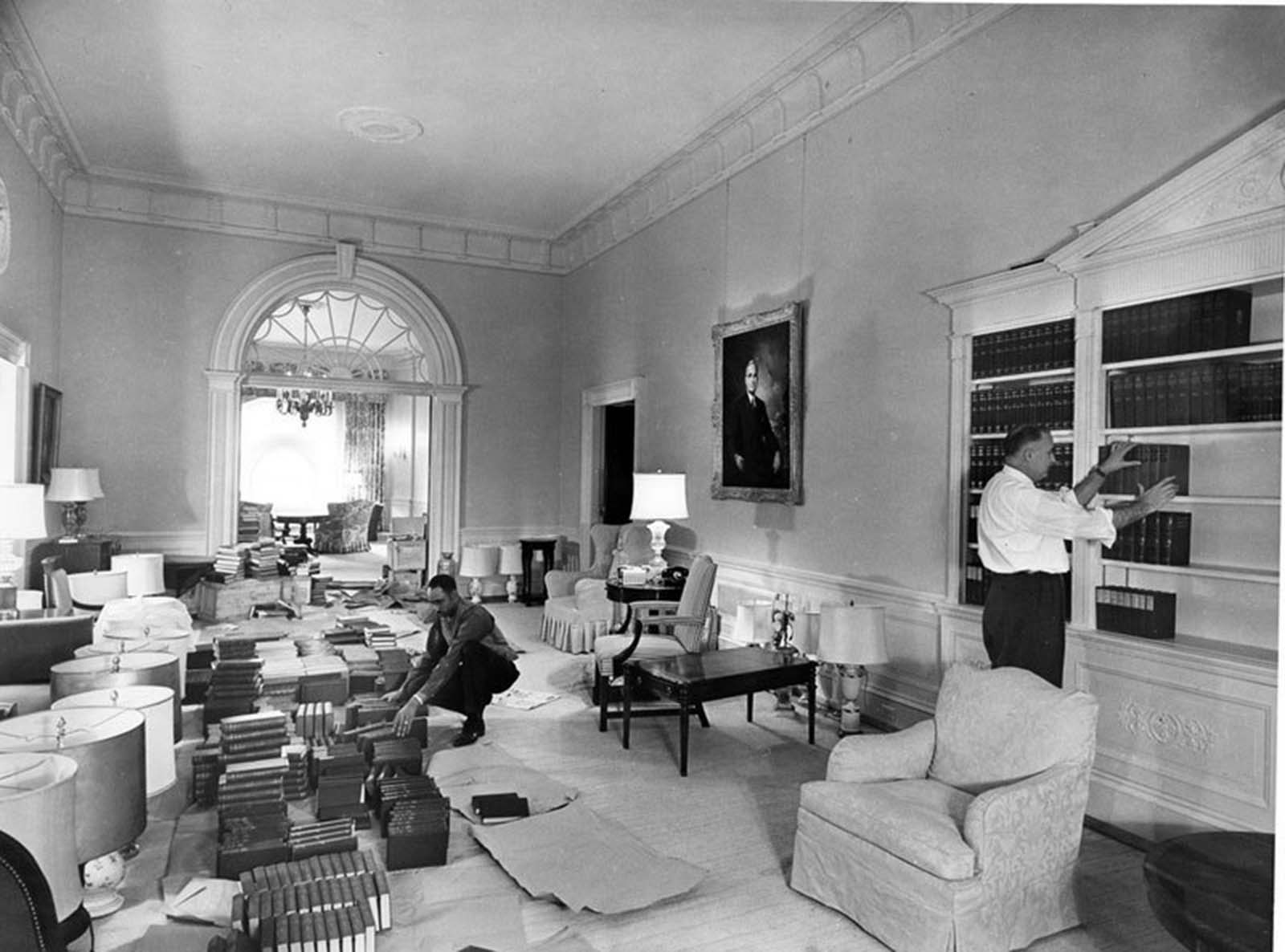 Northwest view of second floor corridor. 1952.