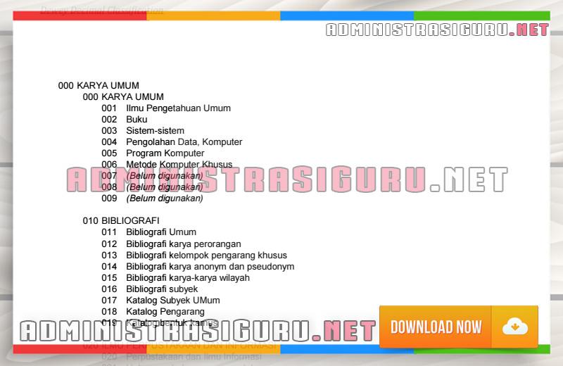 Administrasi Perpustakaan Sekolah - Klasifikasi Buku Menurut DDC