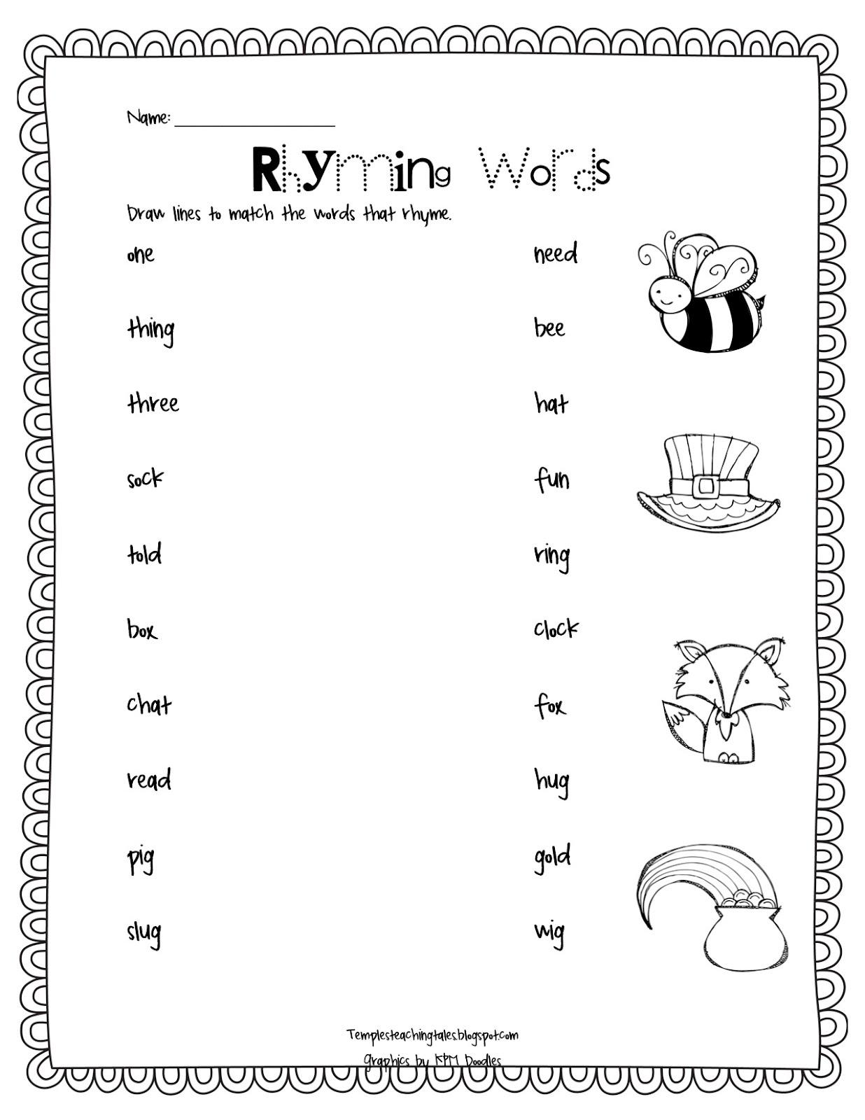 Rhyming Words Worksheet Grade 1 - Reocurent