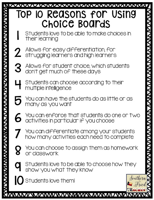 Are you using Choice Boards in your classroom? If not, here are the TOP 10 Reasons for Using Choice Boards! Students will LOVE you for it!