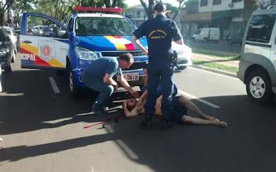 Elemento sobe em viatura da Guarda Municipal Toledo (PR) e é controlado com arma de choque