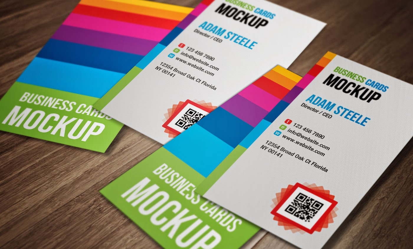 Vertical Business Cards Mockup