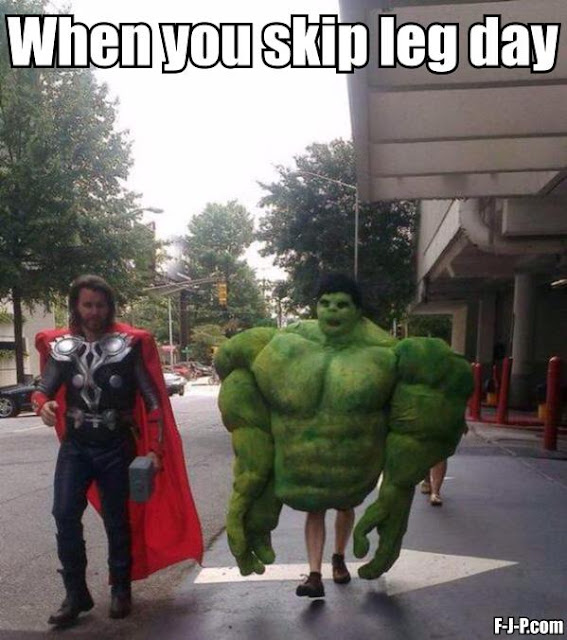 Funny when you skip leg day at the gym meme joke picture