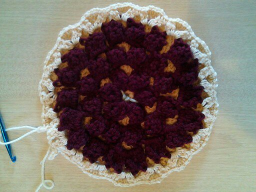 hot pad, crochet, cherry pie, acrylic