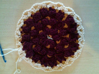 hot pad, crochet, cherry pie, acrylic