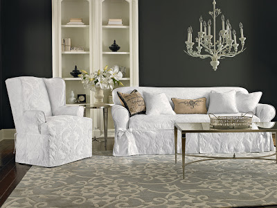 Shown Matele Damask One Piece Slipcovers For The Sofa Wing Chair And Pillows In White Add Elegance To Your Living E With Our Parisian Inspired
