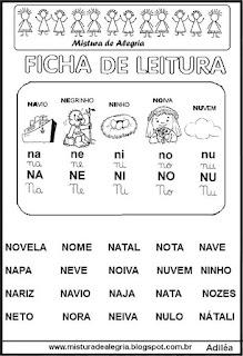 Ficha leitura família silábica N