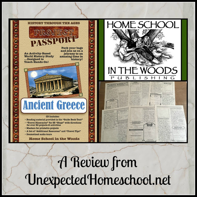 Review of Home School in the Woods project based learning for Ancient Greece.