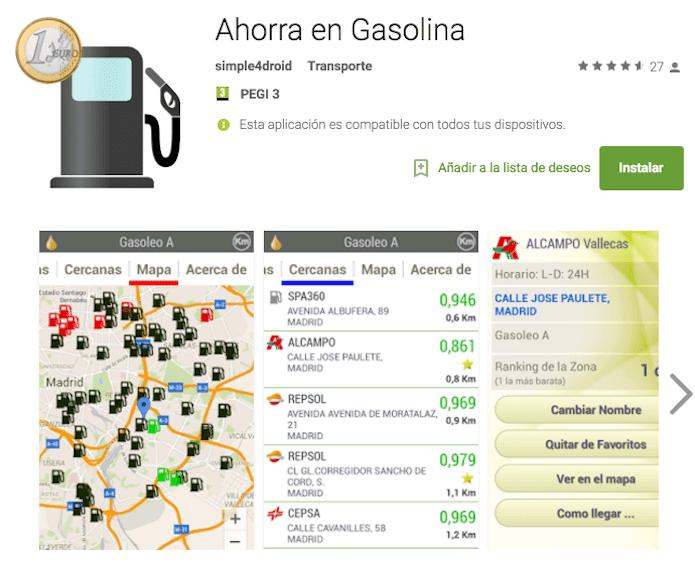 app para ahorrar en gasolina