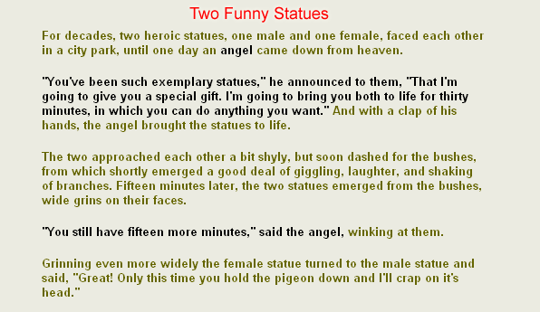 Funny & Jokes: Funny short stories : Two funny statues